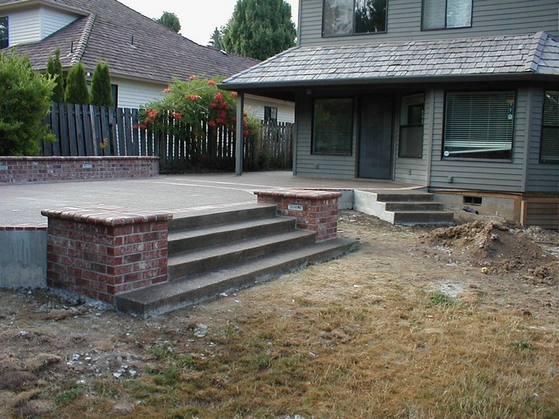 Here Is A Mock Up Of The Finshed Concrete And Brick Patio